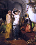 Theodore Chasseriau Orientalist Interior: Nude in a Harem - Hand Painted Oil Painting