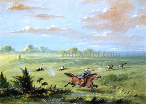 George Catlin Ostrich Chase, Buenos Aires - Hand Painted Oil Painting