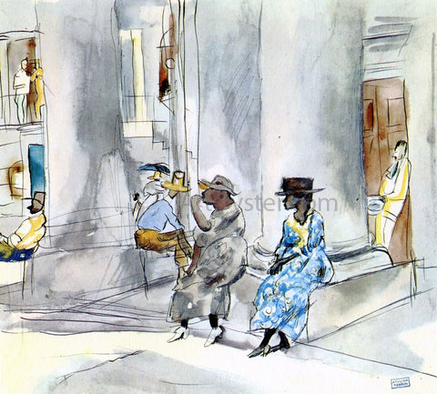 Jules Pascin Outside the Church - Hand Painted Oil Painting