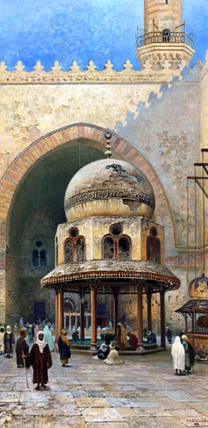 Frans Wilhelm Odelmark Outside the Mosque - Hand Painted Oil Painting