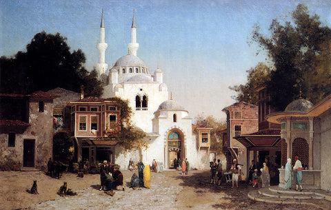 Fabius Germain Brest Outside The Mosque - Hand Painted Oil Painting