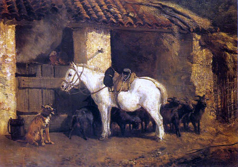 Constant Troyon Outside the Stable - Hand Painted Oil Painting