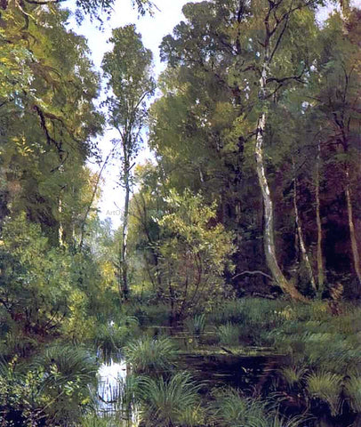 Ivan Ivanovich Shishkin Overgrown Pond on Edge of Forest, Siverskaya - Hand Painted Oil Painting