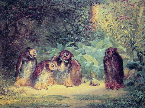 William Holbrook Beard Owls - Hand Painted Oil Painting