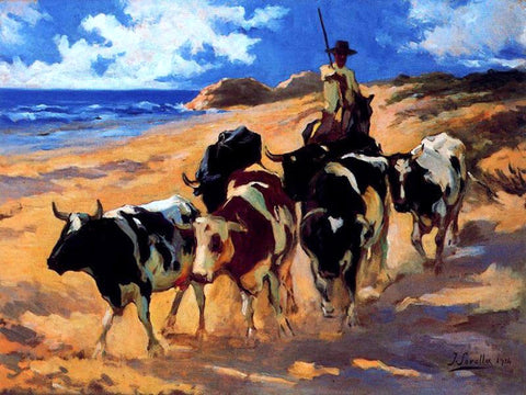 Joaquin Sorolla Y Bastida Oxen at the Beach - Hand Painted Oil Painting