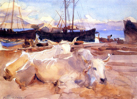 John Singer Sargent An Oxen on the Beach at Baia - Hand Painted Oil Painting