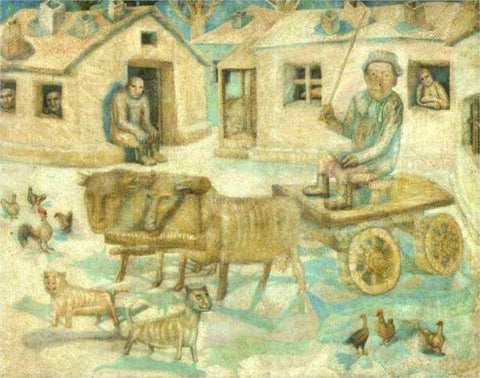 Pavel Filonov Oxen Scene from the Life of Savages - Hand Painted Oil Painting