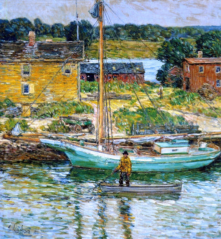 Frederick Childe Hassam An Oyster Sloop, Cos Cob - Hand Painted Oil Painting