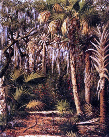 William Aiken Walker Palm Hammock with Epiphytes - Hand Painted Oil Painting