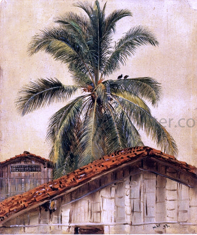 Frederic Edwin Church Palm Trees and Housetops, Ecuador - Hand Painted Oil Painting