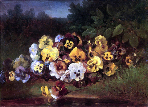 Benjamin Champney Pansies - Hand Painted Oil Painting