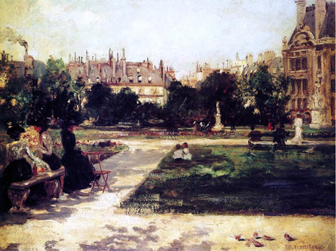 Theodore Robinson Park Scene - Hand Painted Oil Painting