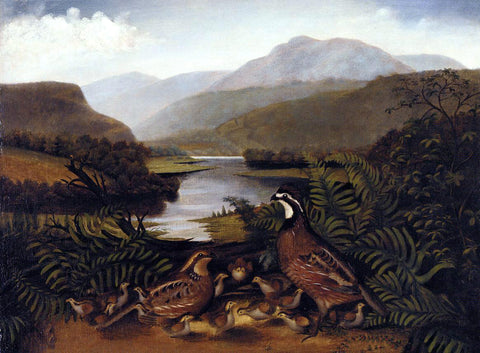 Rubens Peale Partridges in a Landscape - Hand Painted Oil Painting