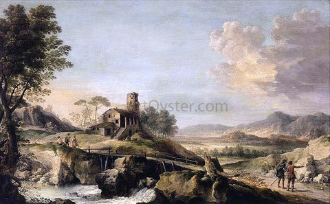 Jean-Baptiste Lallemand Pastoral Landscape with Figures - Hand Painted Oil Painting
