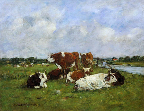 Eugene-Louis Boudin A Pasturage on the Banks of the Touques - Hand Painted Oil Painting