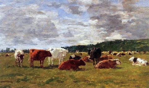 Eugene-Louis Boudin Pasture at Deauville - Hand Painted Oil Painting
