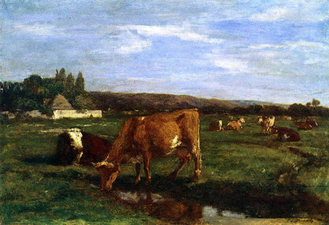 Eugene-Louis Boudin A Pasture in the Touques Valley - Hand Painted Oil Painting