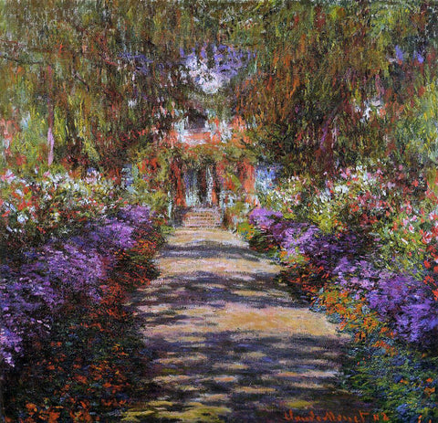 Claude Oscar Monet A Pathway in Monet's Garden at Giverny - Hand Painted Oil Painting
