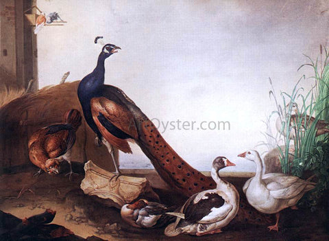 Jakab Bogdany Peacock with Geese and Hen - Hand Painted Oil Painting