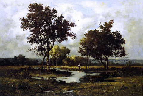 Leon Richet Peasant by a Pond - Hand Painted Oil Painting