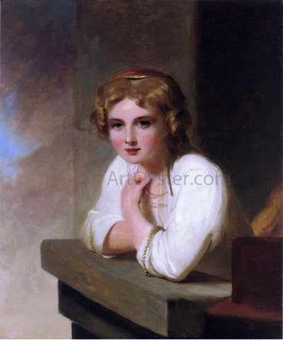 "Thomas Sully Peasant Girl (after Rembrandt's ""Young Girl Leaning on a Windowsill"") - Hand Painted Oil Painting"