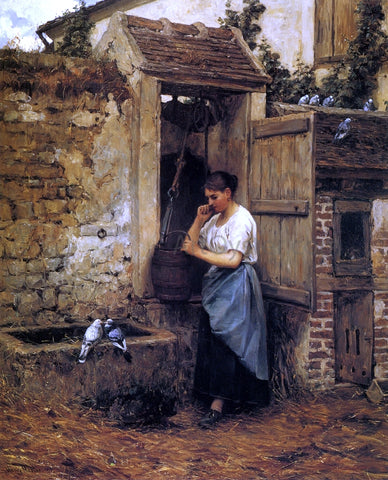 Henry Mosler Peasant Girl and Doves - Hand Painted Oil Painting