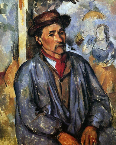 Paul Cezanne Peasant in a Blue Smock - Hand Painted Oil Painting