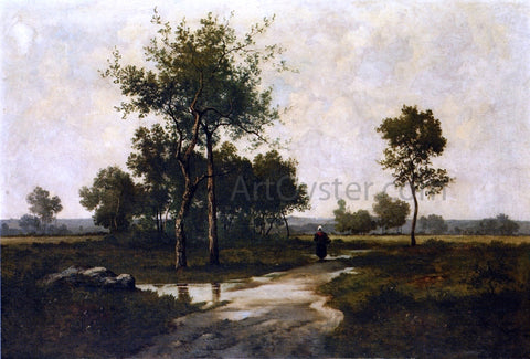 Leon Richet Peasant in a Landscape - Hand Painted Oil Painting