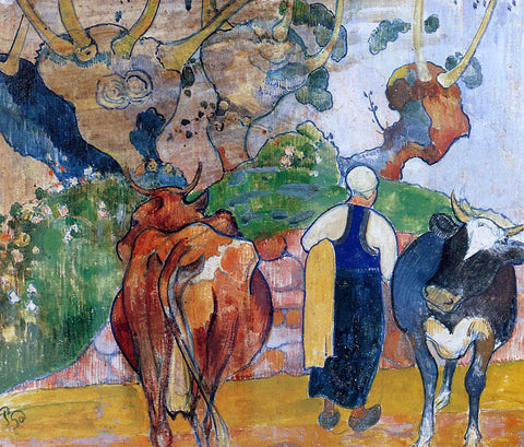Paul Gauguin Peasant Woman and Cows in a Landscape - Hand Painted Oil Painting