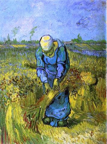 Vincent Van Gogh Peasant Woman Binding Sheaves (after Milleet) - Hand Painted Oil Painting