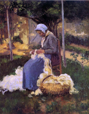 Camille Pissarro Peasant Woman Carding Wool - Hand Painted Oil Painting