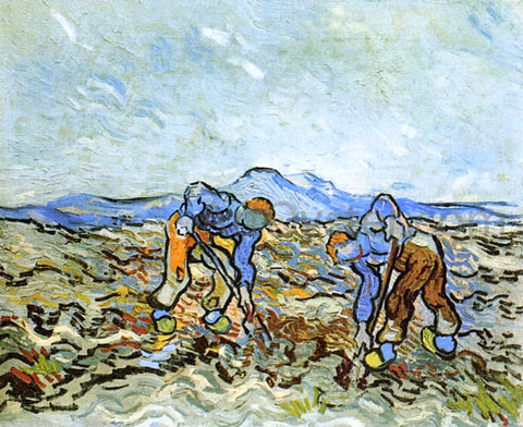 Vincent Van Gogh Peasants Digging up  Potatoes - Hand Painted Oil Painting