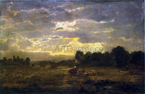 Theodore Rousseau Peasants Harvesting - Hand Painted Oil Painting