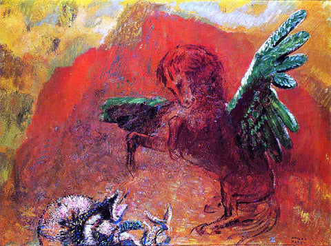 Odilon Redon Pegasus and the Hydra - Hand Painted Oil Painting