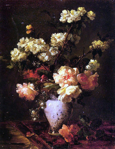 Antoine Vollon Peonies and Apple Blossoms in a Chinese Vase - Hand Painted Oil Painting