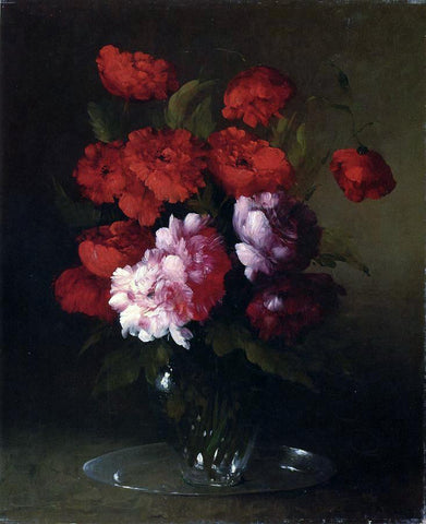Theodule Ribot Peonies and Poppies in a Glass Vase - Hand Painted Oil Painting