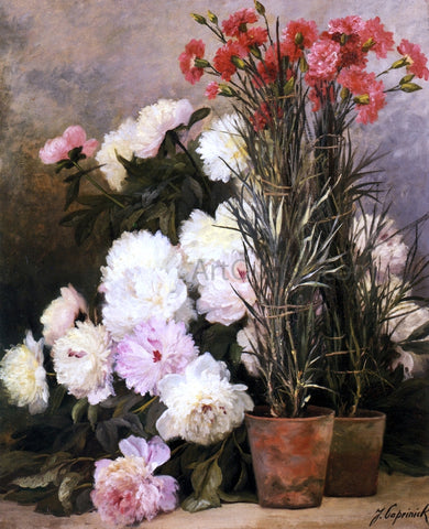 Jean Capeinick Peonies and Red Carnations - Hand Painted Oil Painting