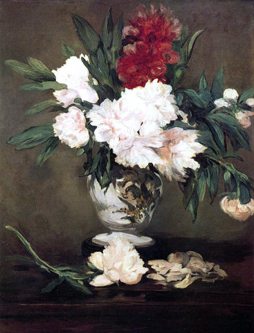 Edouard Manet Peonies in a Vase on a Stand - Hand Painted Oil Painting