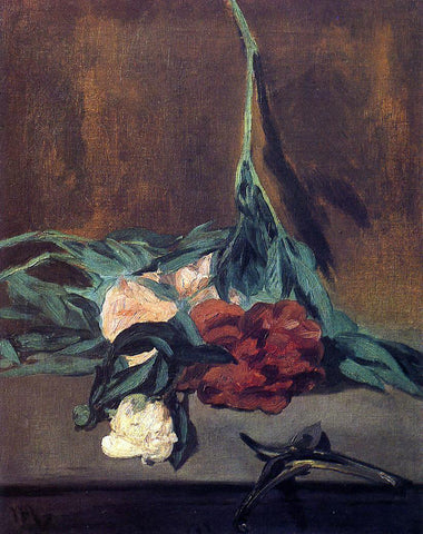 Edouard Manet Peony Stems and Pruning Shears - Hand Painted Oil Painting