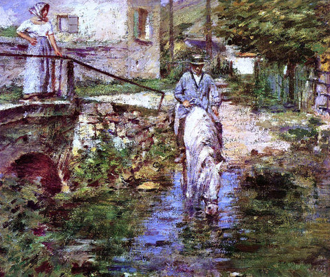 Theodore Robinson Pere Trognon and His Daughter at the Bridge - Hand Painted Oil Painting