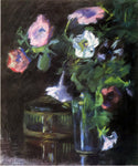 John La Farge Petunias in a Glass Vase - Hand Painted Oil Painting