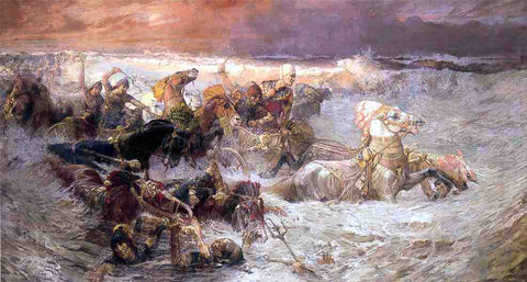 Frederick Arthur Bridgeman Pharoah and His Army Engulfed by The Red Sea - Hand Painted Oil Painting