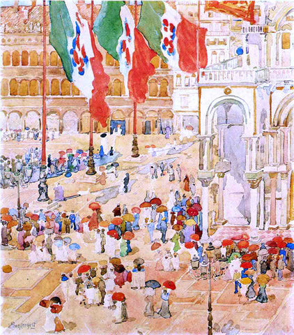 Maurice Prendergast Piazza of St. Marks (also known as The Piazza, Flags, Venice) - Hand Painted Oil Painting