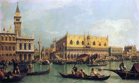 Canaletto Piazzetta and the Doge's Palace from the Bacino di San Marco - Hand Painted Oil Painting
