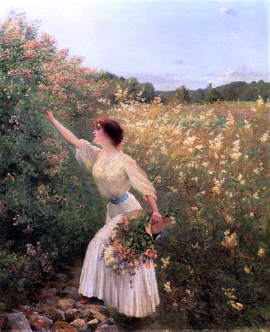 Pierre Andre Brouillet Picking Flowers - Hand Painted Oil Painting