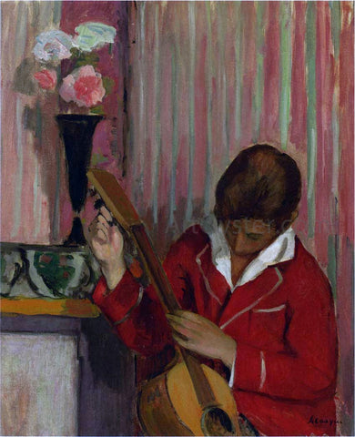 Henri Lebasque Pierre Labasque Playing a Guitar - Hand Painted Oil Painting