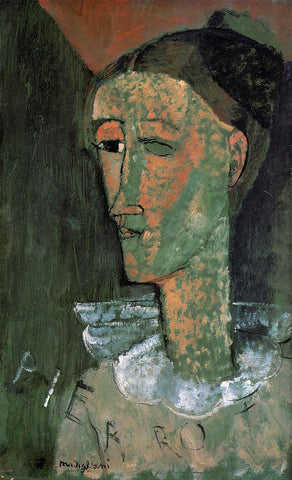 Amedeo Modigliani Pierrot (also known as Self Portrait as Pierrot) - Hand Painted Oil Painting