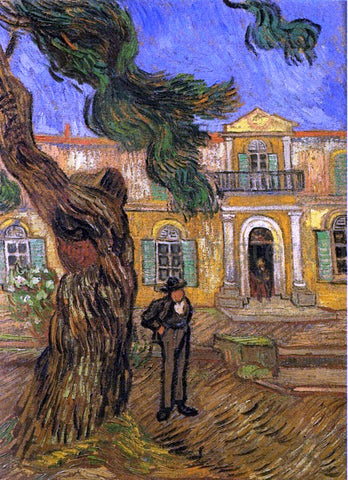 Vincent Van Gogh Pine Trees with Figure in the Garden of Saint-Paul Hospital - Hand Painted Oil Painting