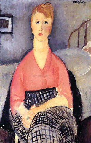 Amedeo Modigliani Pink Blouse - Hand Painted Oil Painting