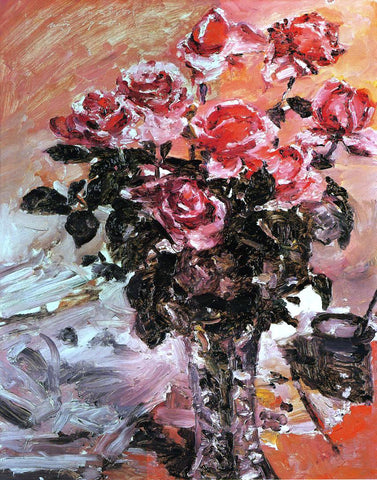 Lovis Corinth Pink Roses - Hand Painted Oil Painting